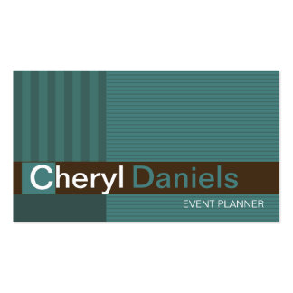 Pinstripes Monogram Initials Event Planner jade Pack Of Standard Business Cards
