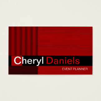 Pinstripes Monogram Initials Event Planner red Business Card