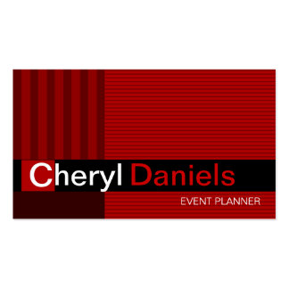 Pinstripes Monogram Initials Event Planner red Pack Of Standard Business Cards