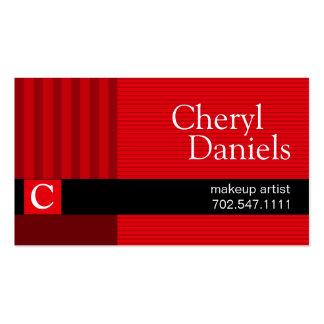 Pinstripes Monogram Initials Makeup Artist red Pack Of Standard Business Cards