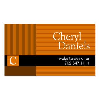 Pinstripes Monogram Initials Web Designer pumpkin Pack Of Standard Business Cards