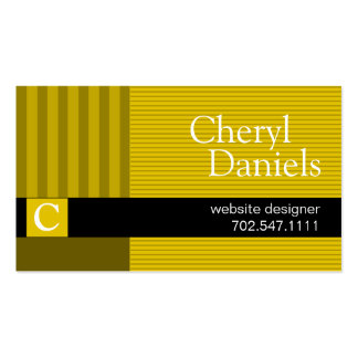 Pinstripes Monogram Initials Web Designer yellow Pack Of Standard Business Cards