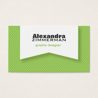 Pinstripes Ribbon Business Card (green apple)