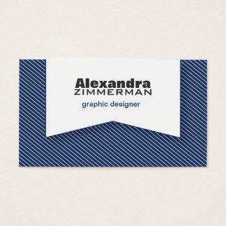 Pinstripes Ribbon Business Card (navy blue)