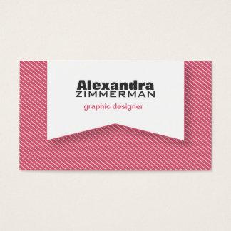 Pinstripes Ribbon Business Card (rose pink)
