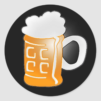 Pint of Beer Mug Design, Black Background Round Sticker