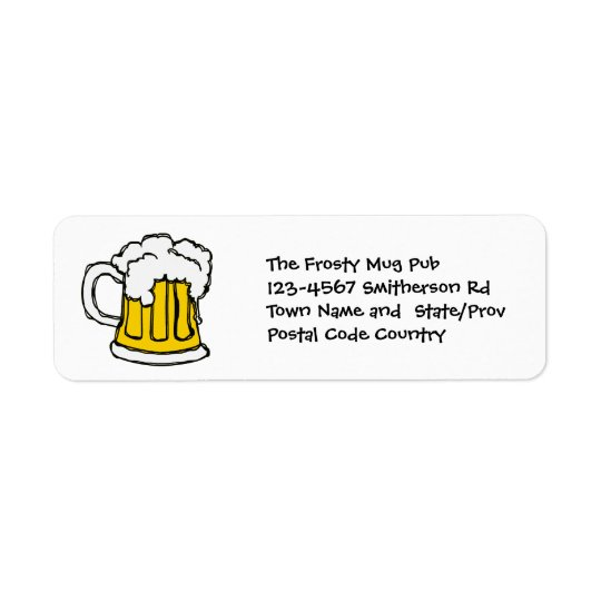 Pint of Bubbly Beer for Pub, Brewery or Cabaret Return Address Label