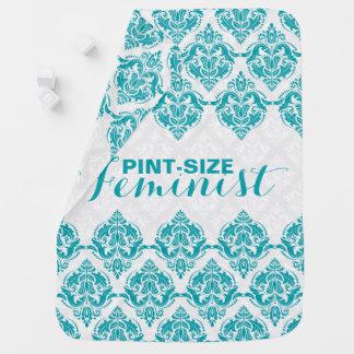 Pint-Size Feminist Text & Turquoise Damasks Baby Blanket