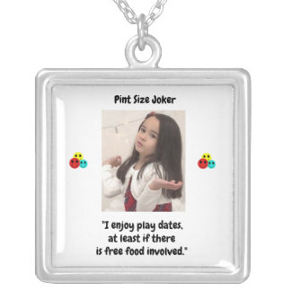 Pint Size Joker: Free Food And Play Dates Silver Plated Necklace