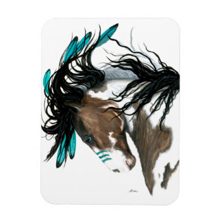 Pinto Horse Feathers by Bihrle Magnet
