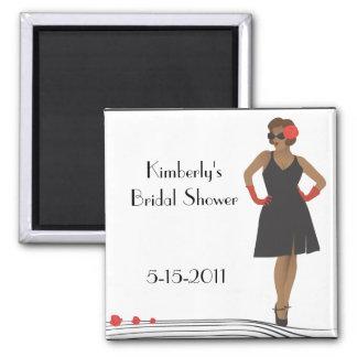 Pinup girl/black dress bridal shower magnet