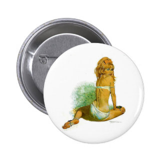 Pinup Girl in a Sexy Two Piece Bikini 6 Cm Round Badge