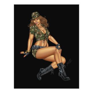 Pinup Girl in Camo by Al Rio 21.5 Cm X 28 Cm Flyer