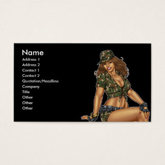 Pinup Girl in Camo by Al Rio Business Card