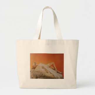 Pinup Girl on Fur Large Tote Bag