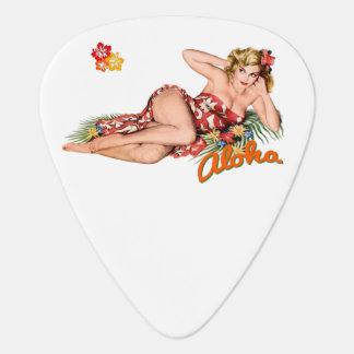 Pinup Girl Pretty, Sexy Island Blonde. Guitar Pick