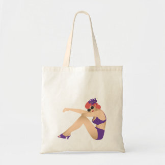 Pinup girl wearing purple swimsuit tote bag