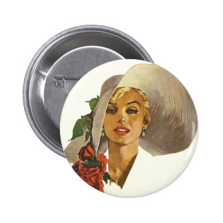 Pinup Girl with Large Summer Sun Hat 6 Cm Round Badge