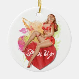 Pinup Heart Ceramic Ornament