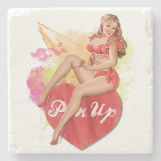 Pinup Heart Stone Coaster