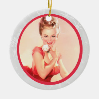 Pinup with a Flower Ceramic Ornament