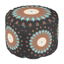 Pinwheel Abstract Round Pouf