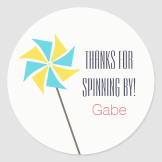 Pinwheel Sticker/Label {Personalized} Classic Round Sticker