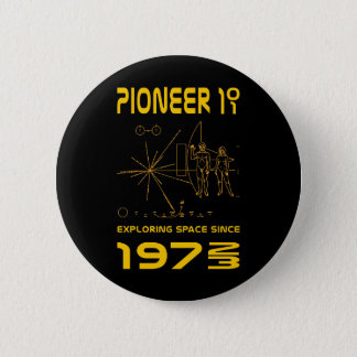 Pioneer 10 & 11 | Space 1972 & 1973 | gold 6 Cm Round Badge