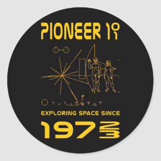 Pioneer 10 & 11   Space 1972 & 1973   gold Classic Round Sticker