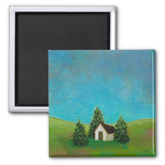 Pioneer house art peaceful landscape painting magnet