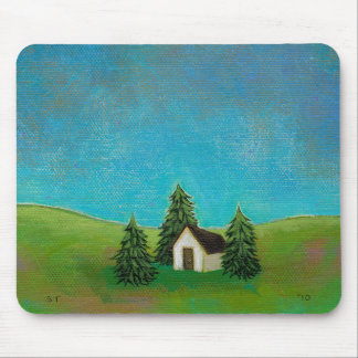 Pioneer house art peaceful landscape painting mouse pad