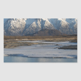 Pioneer Peak Mountain and Matanuska river Rectangular Sticker