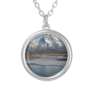 Pioneer Peak Mountain and Matanuska river Silver Plated Necklace