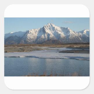 Pioneer Peak Mountain and Matanuska river Square Sticker