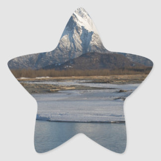 Pioneer Peak Mountain and Matanuska river Star Sticker