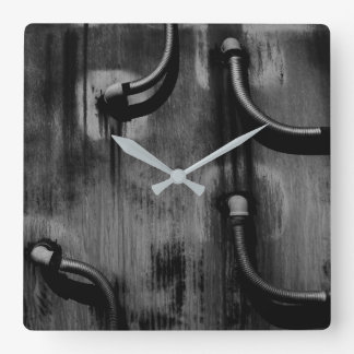 Pipe and Shadow in Black and White Square Wall Clock