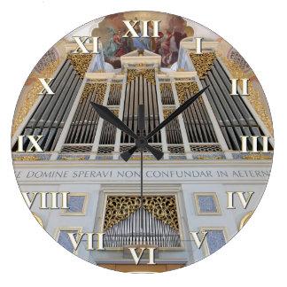 Pipe organ square clock with roman numerals