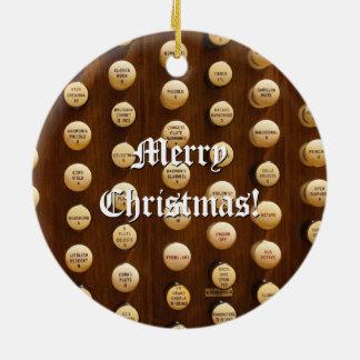 Pipe organ stop knobs Christmas ornament