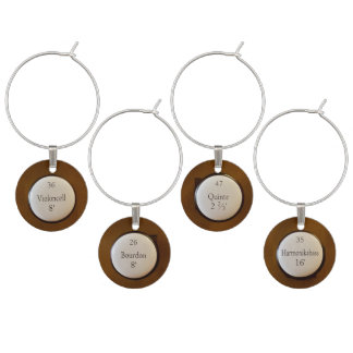 Pipe organ stop knobs wine glass charms