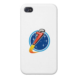 Pipe Wrench Rocket Blasting Off Orbit Space Circle Cover For iPhone 4