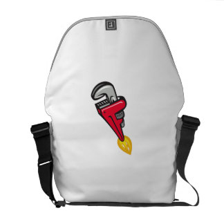 Pipe Wrench Rocket Booster Blasting Off Retro Courier Bag
