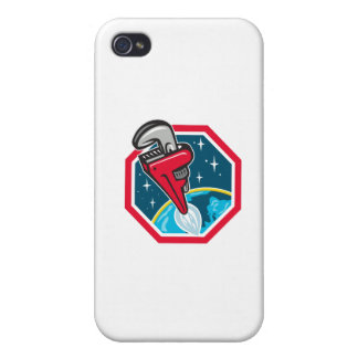 Pipe Wrench Rocket Booster Blasting Space Hexagon Case For iPhone 4