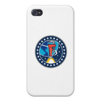 Pipe Wrench Rocket Booster Orbit Earth Circle Retr iPhone 4/4S Cover