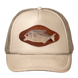 Piranha fish as trophy on wood isolated cap