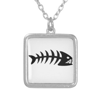 Piranha Fish Bone Square Pendant Necklace