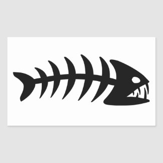 Piranha Fish Bone Rectangle Stickers