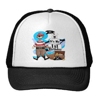 Pirate 1st Birthday T-shirts and Gifts Mesh Hats