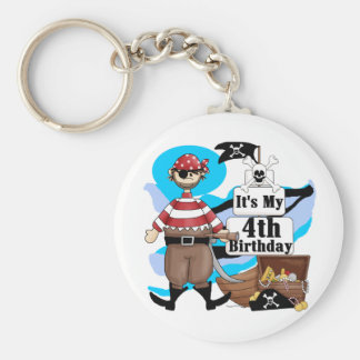 Pirate 4th Birthday Tshirts and Gifts Basic Round Button Key Ring