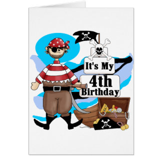Pirate 4th Birthday Tshirts and Gifts Card