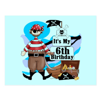 Pirate 6th Birthday t-shirts and Gifts Post Cards